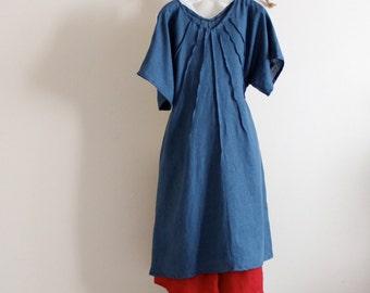 custom plus size linen seashell pleats dress