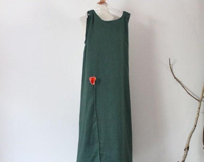 made to order slim shoulder linen dress with  poppy flower / linen slip dress / linen long dress / custom linen dress