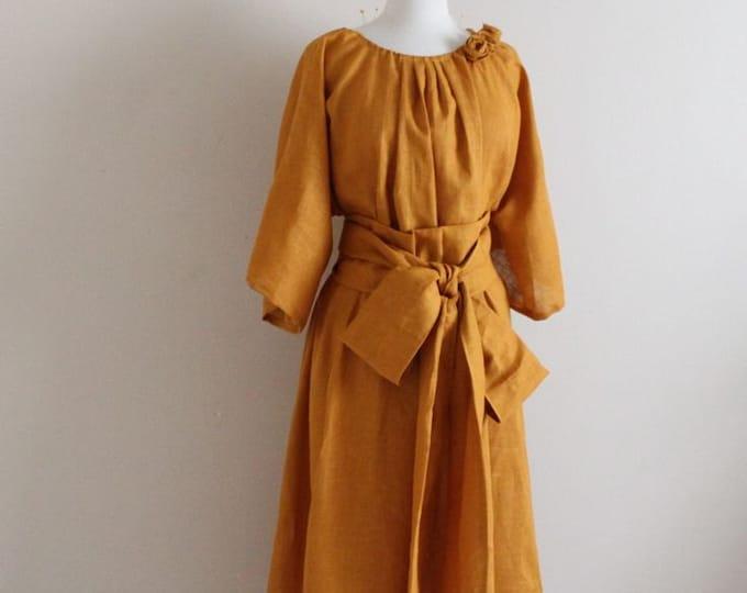 custom linen many moods dress with linen obi for wedding / linen party dress / Boho linen dress / plus size linen dress / tea length dress