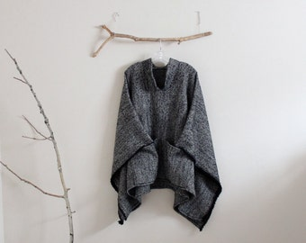 made to order wool linen blend swallow asian poncho / warm winter poncho