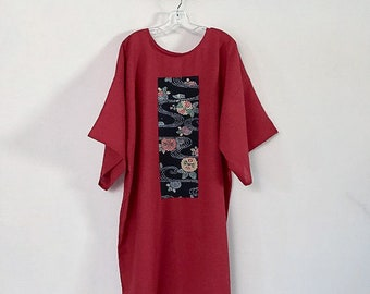 red linen straight dress with kimono panel ready to ship