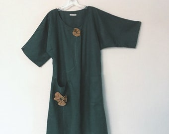 size M emerald linen dress ready to ship