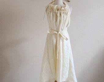 Alternative eco wedding linen ruffle dress made to order
