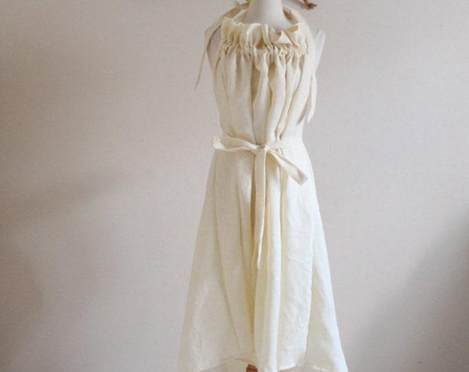 Alternative eco wedding linen ruffle dress made to measure listing / casual wedding dress / beach wedding dress / linen sundress / halter