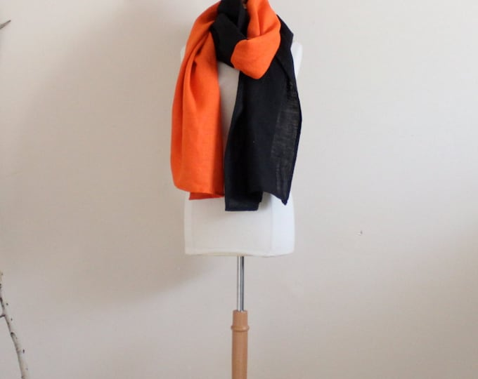 dual color linen shawl /scarf choose your colors / free size linen scarf / made in USA / solar powered studio / linen wrap / linen scarf