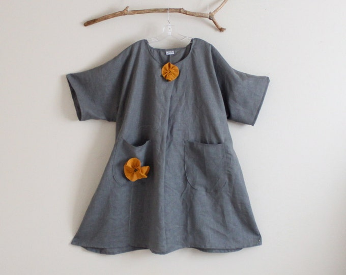 plus size gray linen with autumn gold flowers dress handmade to measure / super roomy at hip area / plus size comfy dress