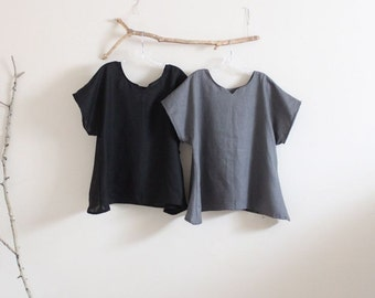 arty neckline linen top size made to order