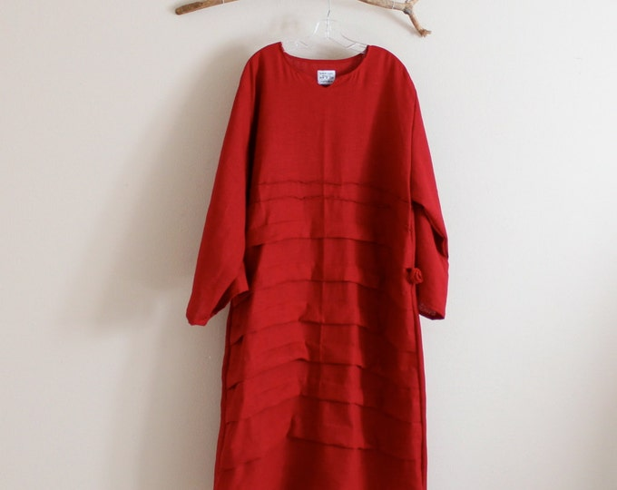 custom pleats roses folds linen dress with sleeves