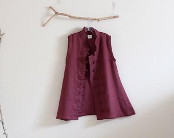 burgundy linen vest top size M / ready to wear