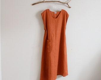 custom  plus size linen calla lily long dress with a pocket / asymmetrical linen dress