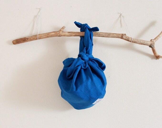 eco friendly linen furoshiki wrap bag /Japanese gift / linen part wristlet / unique Christmas gift / linen wrap hand bag / linen accessories