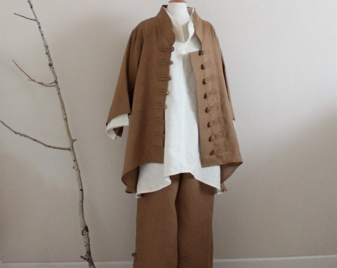 custom made linen outfit long length blouse jacket pants / linen outfit for linen part / linen wedding / linen for all sizes