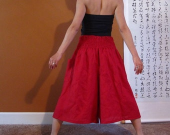 smocked waist wide leg linen gaucho pants made to order