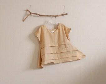summer linen pleated umbrella shape top