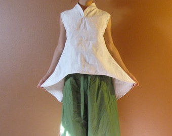 custom sleeveless linen simplicity top