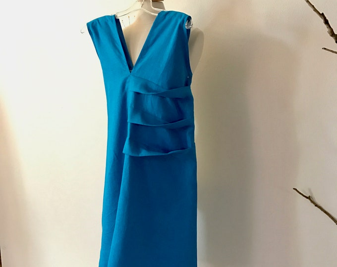 ready to wear teal linen spiral pleats short dress size M