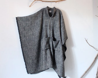 MADE TO ORDER wool linen blend long poncho