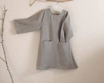 custom linen dress with hidden pockets / linen dress made to order / plus size / petite / natural linen / made by designer for you