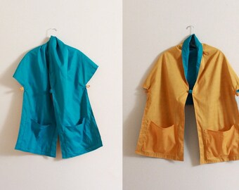 light weight  teal yellow reversible cotton  shawl jacket with pockets ready to ship / summer cape / cotton cape / shawl with pockets