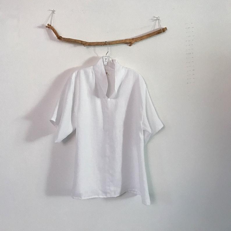 custom linen short sleeve blouse size XS to 6XL