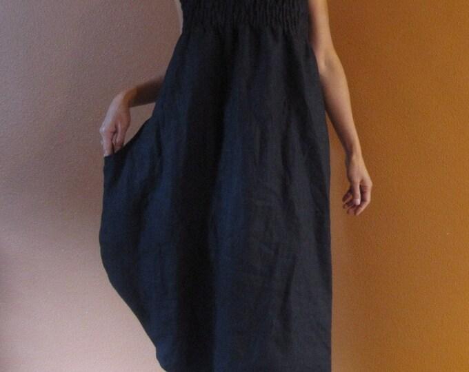 handmade linen shirred tulip dress  / halter dress / sun dress / sleeveless dress / smocked dress / shirred dress / beach dress / slim dress