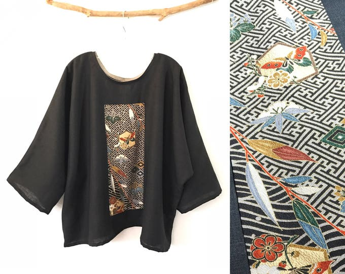 ready to wear black linen oversized kimono top with olive kimono silk panel ready to wear / black linen top / tapered sleeves