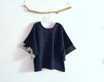 ready wear indigo geo cotton kimono top tiny triangle with star and cat sleeve trims