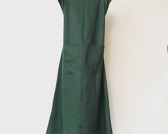 Reserved for T only sleeveless black linen long length dress with 2 pockets