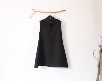 ready to wear size S cloud chipao collar heavy weight  linen tunic / petite black linen tunic dress / ready to wear black linen dress /