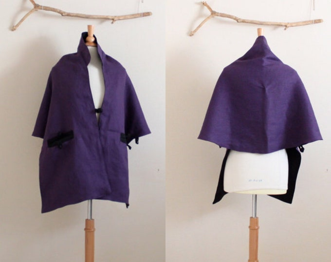 ready to wear reversible eggplant black linen lotus motif shawl cape / Asian shawl with pockets /lotus shawl