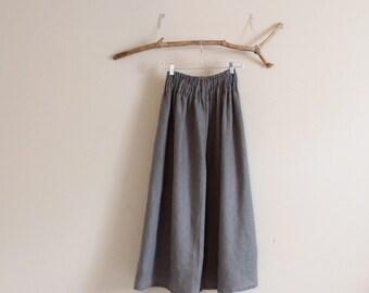 plus size custom linen shirred waist wide leg pants / smocked waist linen pants / low crotch linen pants / wide leg pants