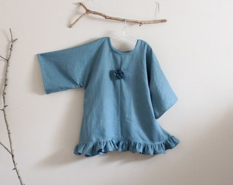 linen wavy top with pleated flower and ruffles made to order / lagenlook linen tunic / plus size linen tunic / casual linen tunic / linen