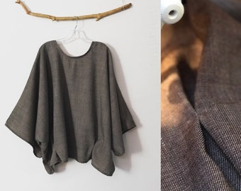 made to order oversized taupe slubbed wool kimono wide sleeve top with folds