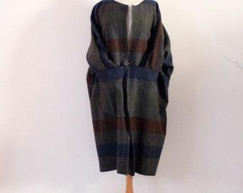custom gray stripes boild wool kangaroo pocket coat  / jacket/ suit open center / oversized / free size / wool jacket / stripes / minimalism
