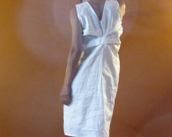Alternative eco wedding linen bottle fold dress made to measure listing / white linen dress / linen dress for wedding / linen party dress