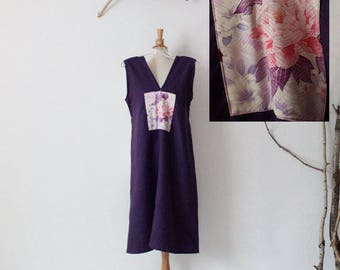 peony kimono silk panel on eggplant linen sparrow tunic dress ready to wear size M or L / upcycled clothing / upcycled linen dress