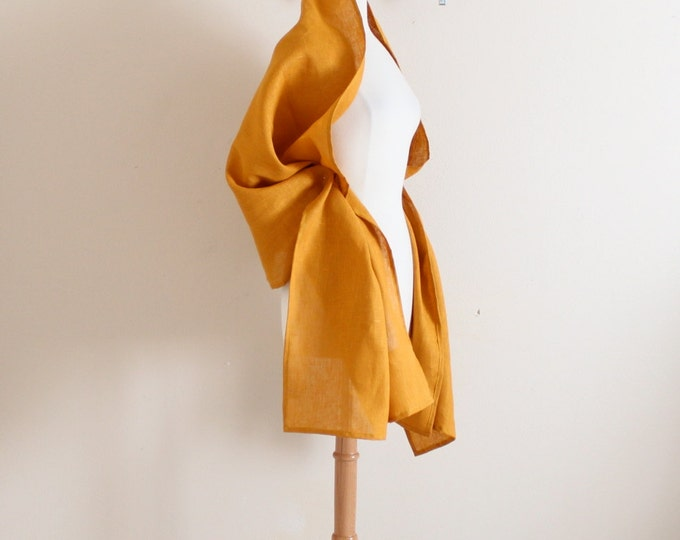 autumn gold linen wrap shawl ready to wear / long linen shawl / long linen scarf / autumn gold yellow linen /ready to ship / linen wrap