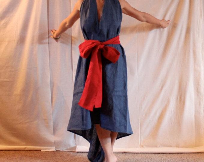 linen chic low cut halter dress with obi sash made to order / wedding linen dress / beach wedding dress / linen party dress / linen sundress