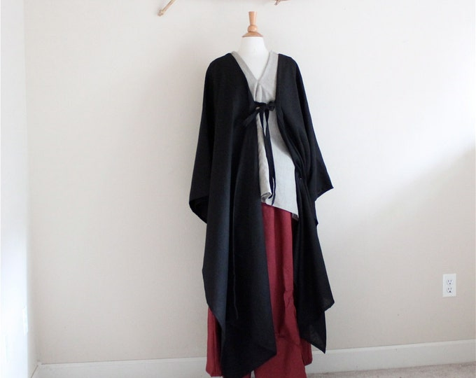 origami long wrap  linen outfit three pieces handmade to measure petite to plus size / simple linen outfit / black / natural / burgundy /