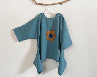 ready wear plus size lagenlook patched flower light blue linen top