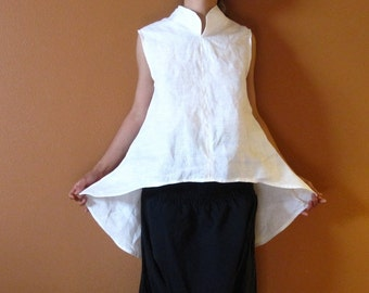 custom eco linen simplicity wavy top /  linen top with stand up collar / custom linen top for all sizes /