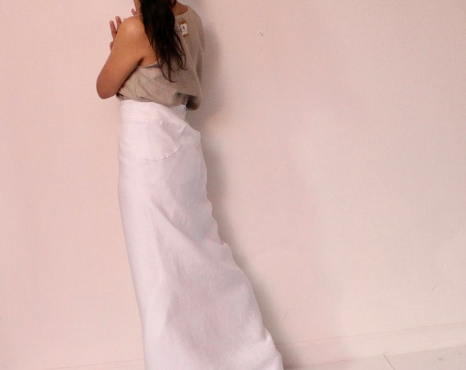 ready to wear white linen wrap skirt with a half moon shape patched pocket / wrap style skirt / white linen skirt / pencil skirt /