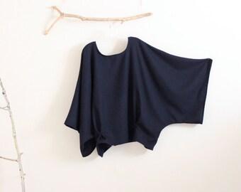 oversized soft navy wool kimono wide sleeve top with folds / navy wool top / wide sleeves / minimalist wool top / plus size fit / free size