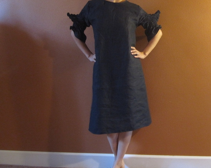 custom smocked spiky sleeves pure linen dress made to order listing