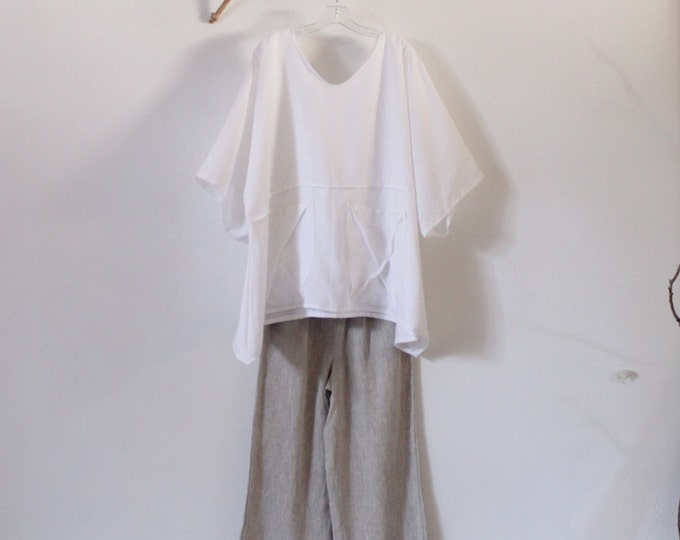 white and pebble linen outfit top and pants handmade to measure petite to plus size / handmade linen top and pants / minimalist fashion /