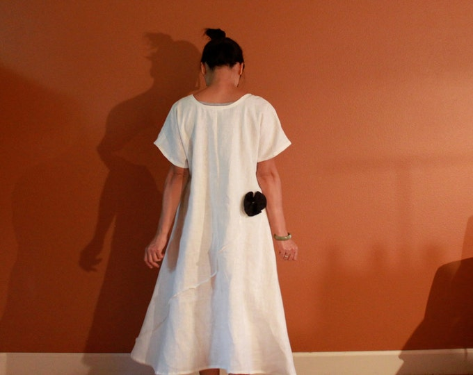 custom wide end linen dress with pleated flowers /linen maxi dress / plus size dress / petite fit dress/ wedding /linen party