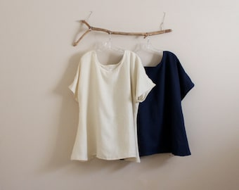 every day linen tops made to order / casual linen tops / practical linen tops / minimalist tops / plus size  linen tops / petite lien tops