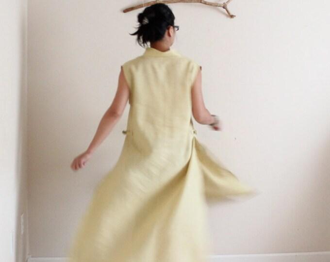 custom eco friendly linen ao dai robe / plus size dress / petite custom dress / Asian inspired  dress / ao dai dress / women linen clothing