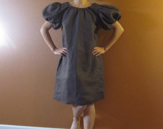 custom linen puffy sleeve tunic dress made to fit listing / dress with puffy sleeves / custom linen dress / petite / puffy / poofy /balloon