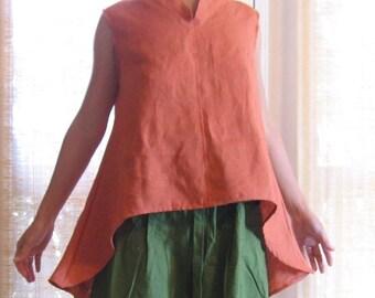 linen wavy blouse made to order /  linen shirt / petite linen top / plus size linen shirt / chipao collar / women clothing / linen tunic /